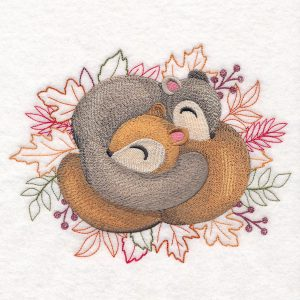embroidered sleeping squirrels