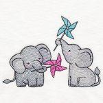 elephants with pinwheels embroidery