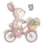 bunny on bike embroidery