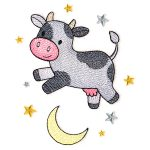 cow jumping over moon embroidery