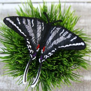 zebra butterfly embroidered