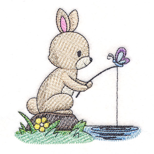 cute bunny fishing spring embroidery