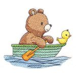 cute rowing bear embroidery