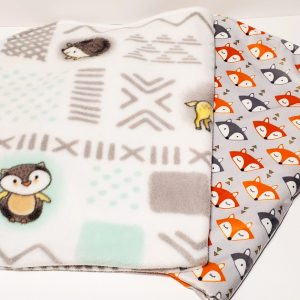 fox and woodland animals blanket