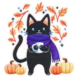 Autumn Cat embroidery