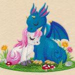 embroidered-unicorn-and-dragon